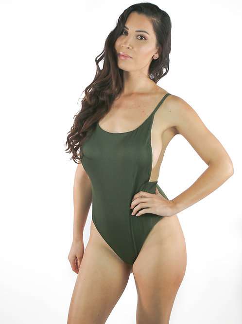"""""""Taylor"""", Olive Green One Piece"""