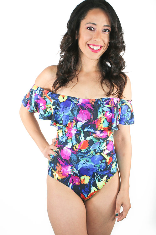 """Amelia"", Floral, Ruffle, Off shoulder One Piece"