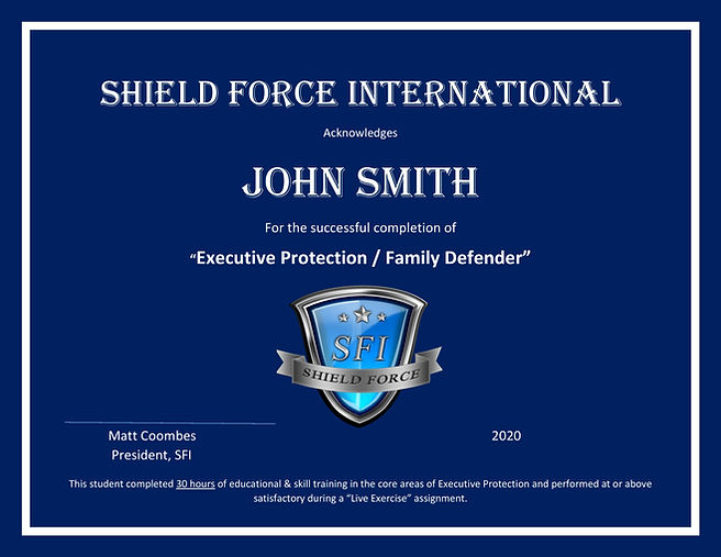 Executive Protection Certificate for the