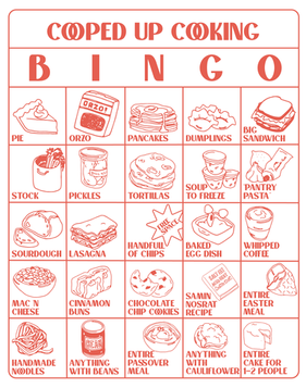 Cooped Up Cooking Bingo, 2020
