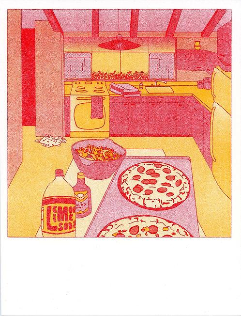 Meg's Burnt Pizza During Wheat Harvest Print
