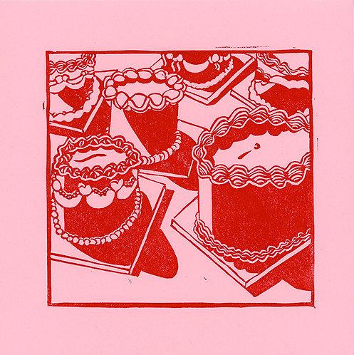 Cakes linocut print