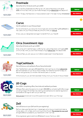 Screenshot of offers from 'All Offers' page