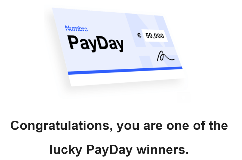 Numbrs Payday Winner Email