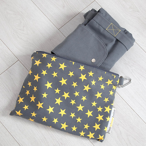 Big bag folds away into small star print bag in grey and yellow
