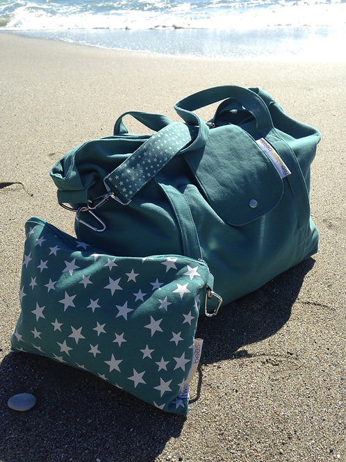 big bag - ocean green / grey