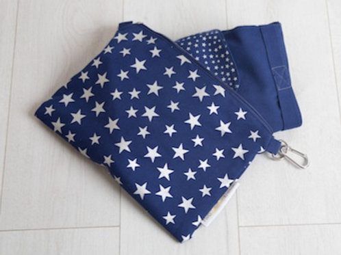 Big bag folds away into small star print bag in blue and silver