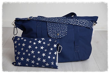 big bag, blue silver, perfect for beach bag / weekend bag / gym bag / baby bag / change bag, folds away to fit into great smaller pouch bag