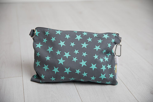 Cross Body Canvas Star Print Bag in grey and turquoise