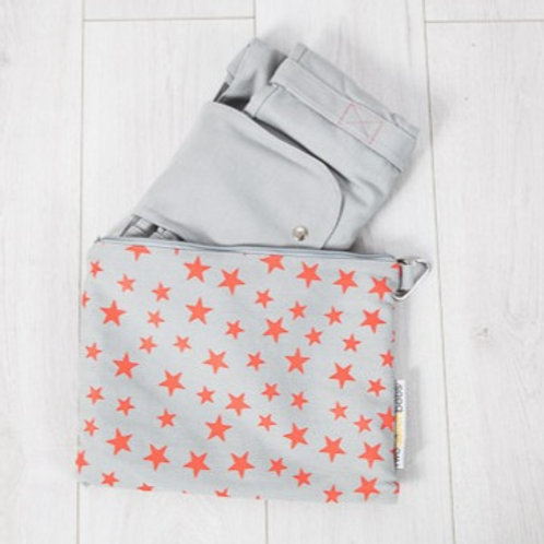 Big bag folds away into small star print bag in light grey and coral