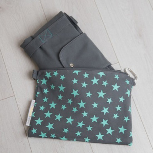 Big bag and small bag in one in grey and turquoise, packs away to make a great travel bag
