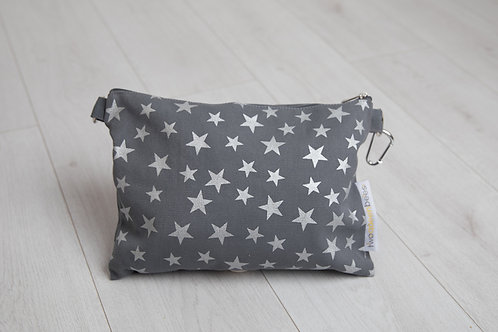 Cross body bag in canvas star print, grey and silver