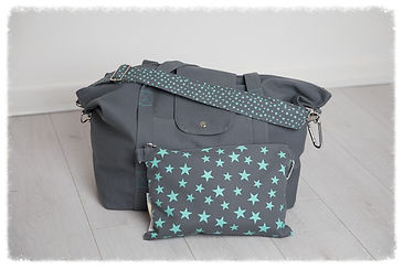 big bag, grey / turquoise, perfect for beach bag / weekend bag / gym bag / baby bag / change bag, folds away to fit into great smaller pouch bag