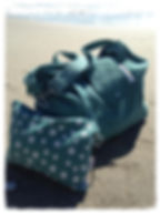 big bag, green, perfect for beach bag / weekend bag / gym bag / baby bag / change bag, folds away to fit into great smaller pouch bag
