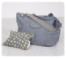 big bag, grey/yellow perfect for beach bag / weekend bag / gym bag / baby bag / change bag, folds away to fit into great smaller pouch bag