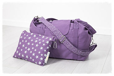 big bag, purple, perfect for beach bag / weekend bag / gym bag / baby bag / change bag, folds away to fit into great smaller pouch bag