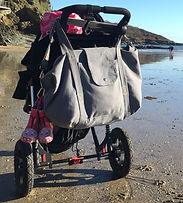 big bag, grey, perfect for beach bag / weekend bag / gym bag / baby bag / change bag, folds away to fit into great smaller pouch bag