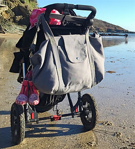 Big bag grey canvas fits pushchairs