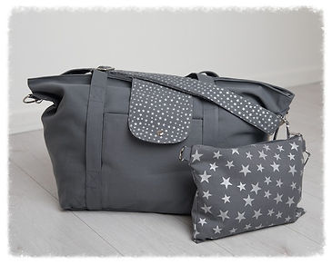 big bag, dark grey silver, perfect for beach bag / weekend bag / gym bag / baby bag / change bag, folds away to fit into great smaller pouch bag