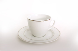 White Platinum Tea Cup & Saucer