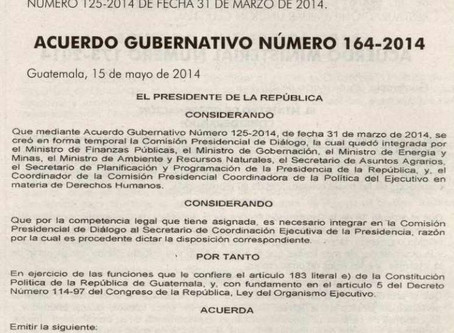 ACUERDO GUBERNATIVO No. 164-2014