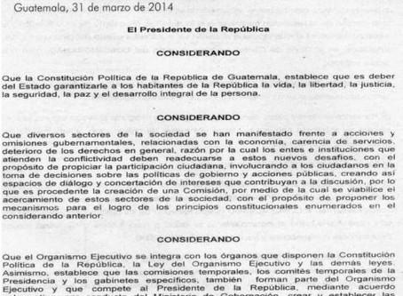 ACUERDO GUBERNATIVO No. 125-2014