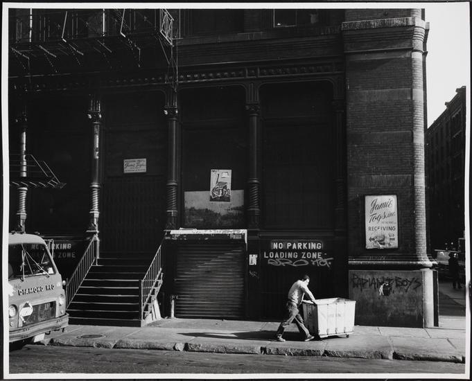 Mercer Street at Prince Street, Onetime Guggenheim SoHo, now Prada SoHo. Photo: MCNY, Edmund V. Gillon