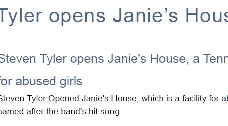 Steven Tyler opens Janie's House in TN