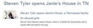 Steven Tyler opens Janie's House in TN 1