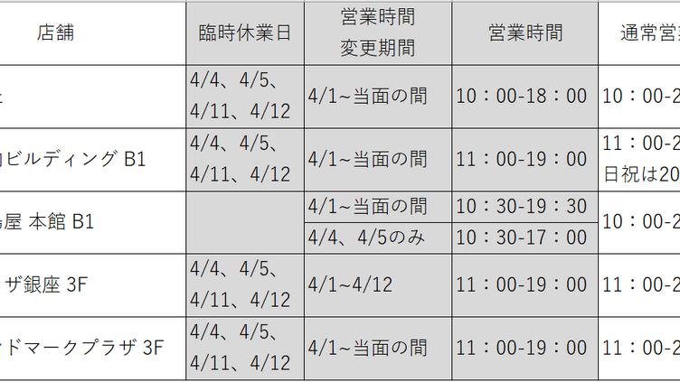 新型コロナウイルス影響による、臨時休業と営業時間変更のお知らせ ※4月6日更新