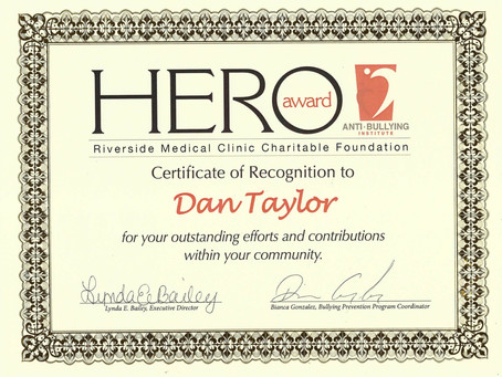 BullyStop 360 Co-Founder, awarded a HERO award for his continued community contributions.