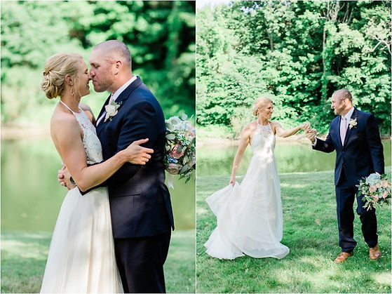 Bride and groom kissing after their wedding at York, Maine venue Foster's Clambakes and Catering