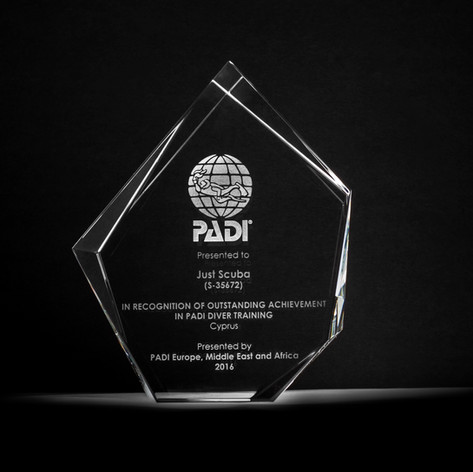 Awarded to us here at Just Scuba in recongition of outstanding achievement in PADI diver training