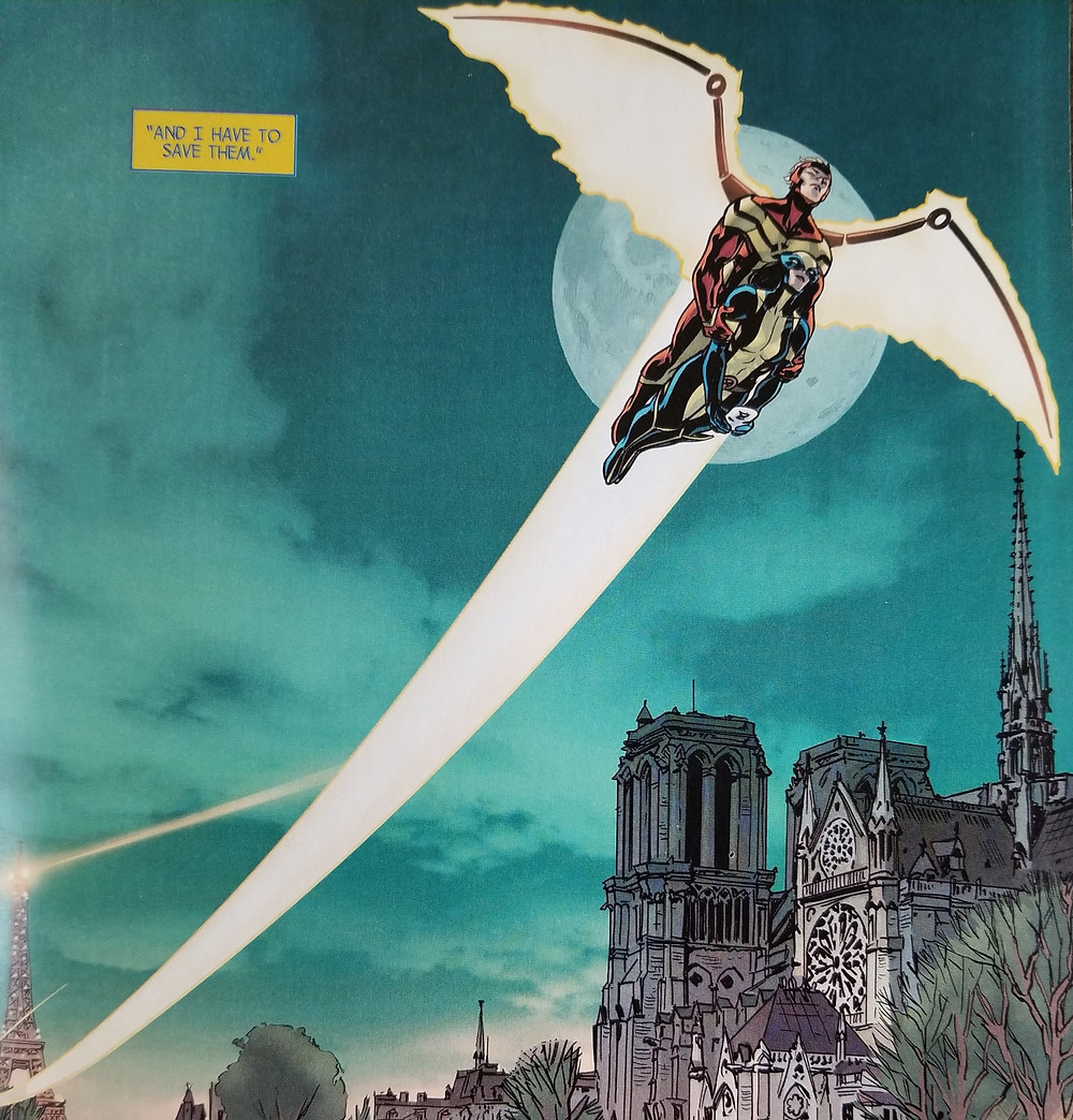 "Marvel's Angel carries Wolverine (X-23) over the Seine River in Paris, in front of Notre Dame Cathedral in the final panel of The All New Wolverine 001, November 2015. Caption reads: ""And I have to save them."""