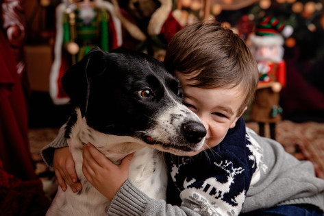 young boy in christmas sweater hugging black and white dog