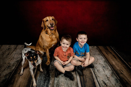 Fox terrier red lab and two young boys