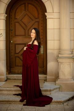 pregant lady wearing dark red