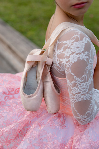 close up of ballerina shoes