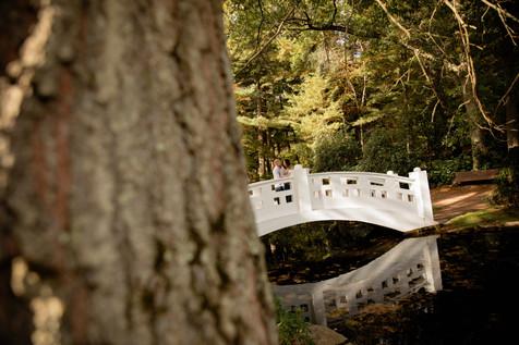 couple on white bridge at Wickham park