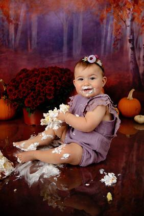 1 year old girl in purple cake smash