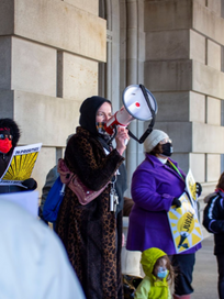 Pauline at a Moral Monday Rally on March 15th in Albany