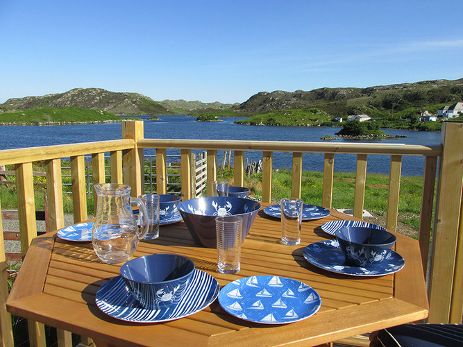 Eat out on the deck to enjoy views over the Loch.