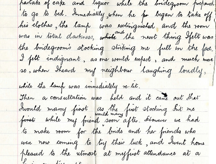 Extract from 'A country wedding' essay by a Nicolson Institute pupil describing wedding stocking custom, 1907