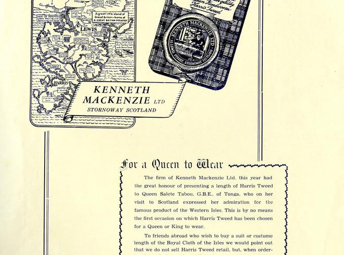 Eilean an Fhraoich Magazine Advert 1953 Queen of Tonga