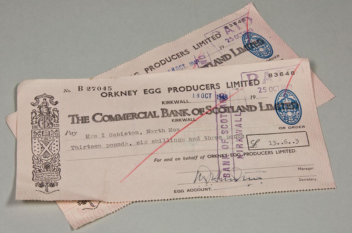 Egg producer cheque