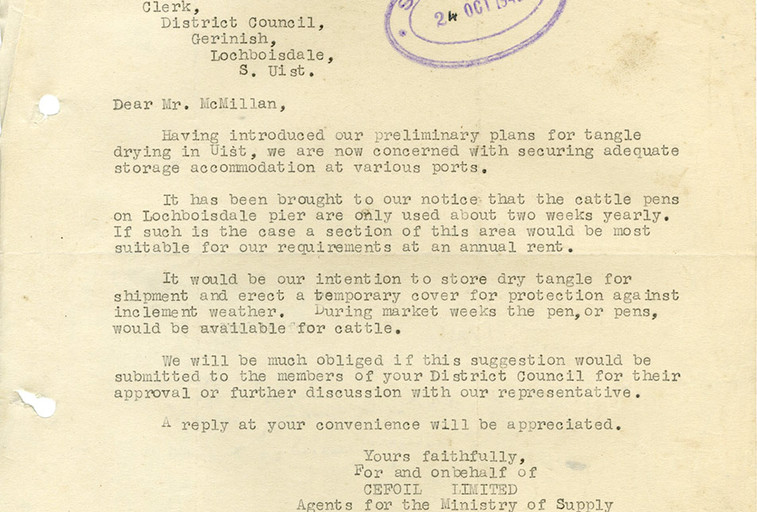 Letter from Cefoil Ltd (later Alginate Industries) about use of Lochboisdale Pier for seaweed drying, 1943