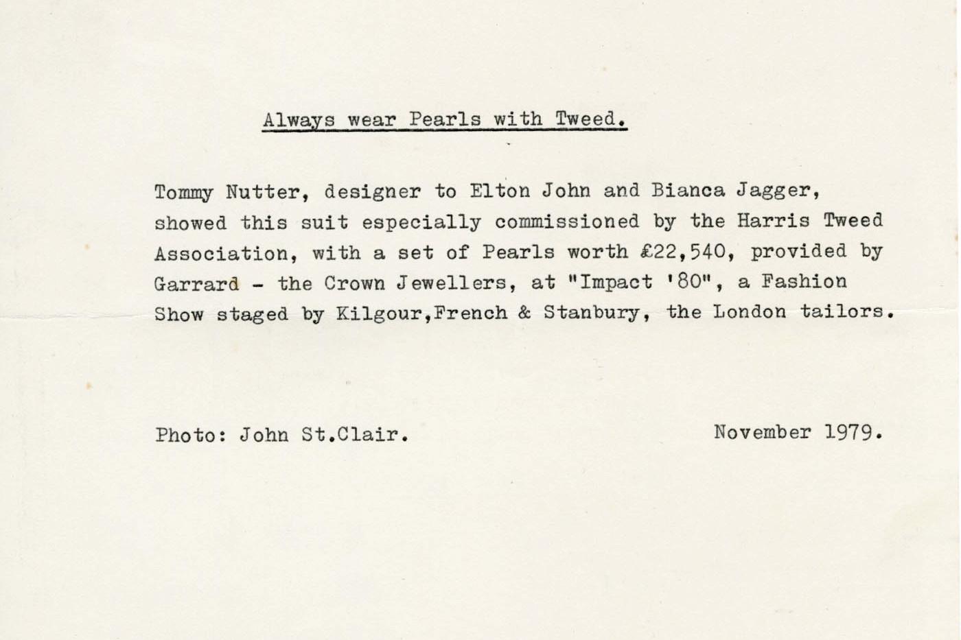 Tommy Nutter letter regarding Harris Tweed
