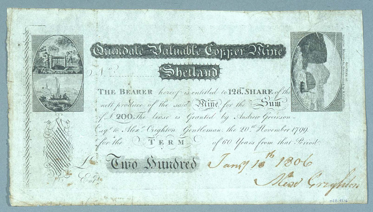 Share certificate, Quendale mine, Shetland