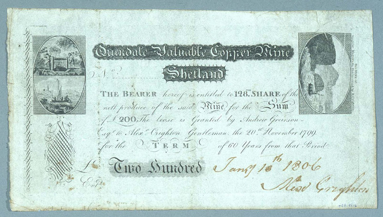 Share certificate, Quendale mine, Shetland