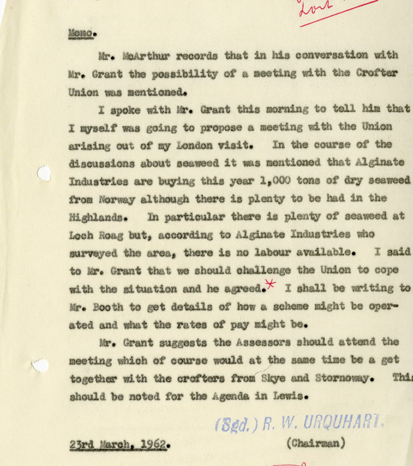 Crofters Commission internal memo re Loch Roag seaweed discussion, 1962